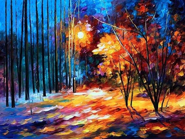 Leonid Afremov - Shadows On Snow Print