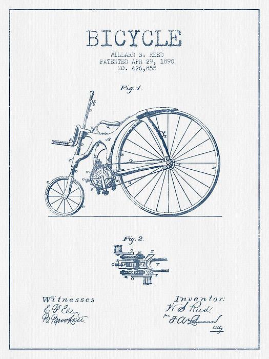 Aged Pixel - Reed Bicycle Patent Drawi... Print