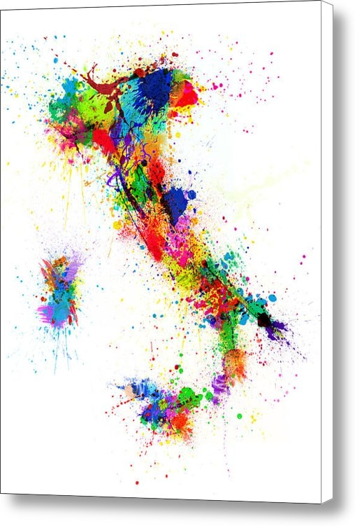 Michael Tompsett - Italy Map Paint Splashes Print