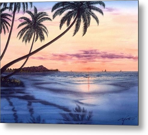 John YATO - Sunset At Waikiki Beach Print