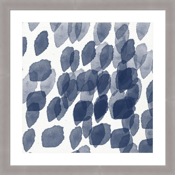 Linda Woods - Indigo Rain- abstract blu... Print
