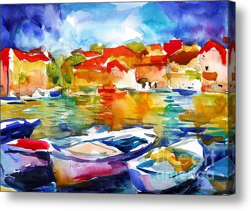 Svetlana Novikova - Colorful watercolor boats... Print