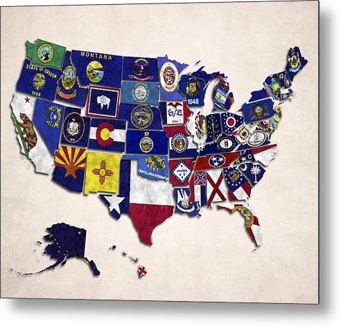 World Art Prints And Designs - United States Map With Fi... Print