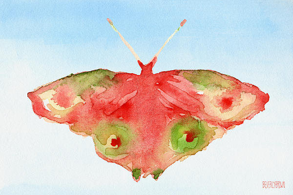 Beverly Brown Prints - Butterfly Red and Green W... Print