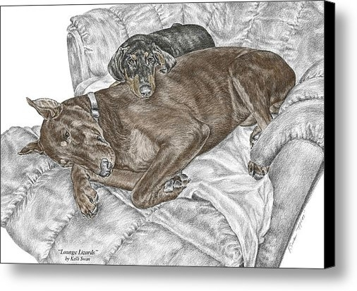 Kelli Swan - Lounge Lizards - Doberman... Print