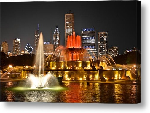 Frozen in Time Fine Art Photography - Buckingham Fountain at Ni... Print