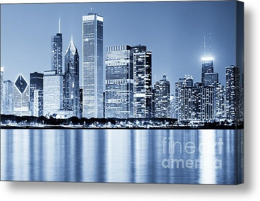Paul Velgos - Chicago Skyline at Night Print