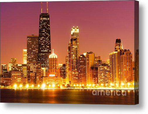 Paul Velgos - Chicago Night Skyline wit... Print
