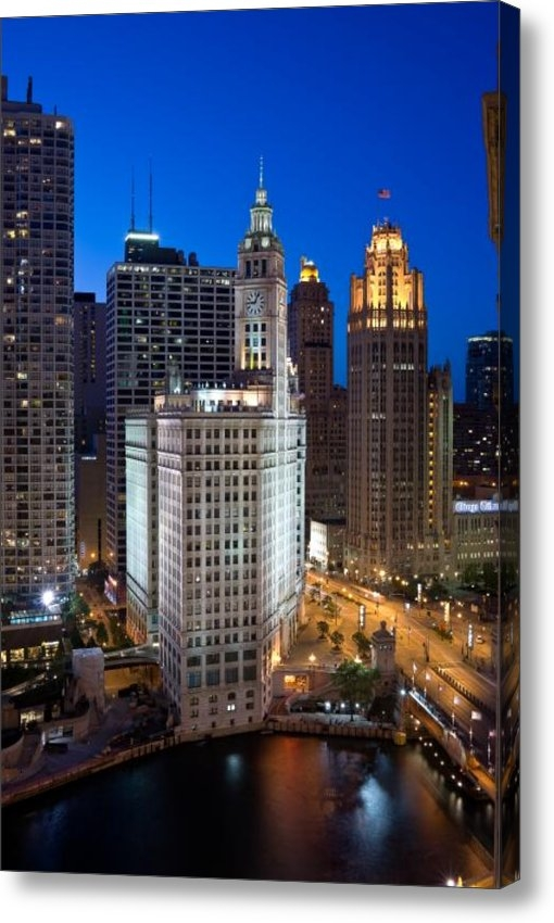 Steve Gadomski - Wrigley Building Night Print