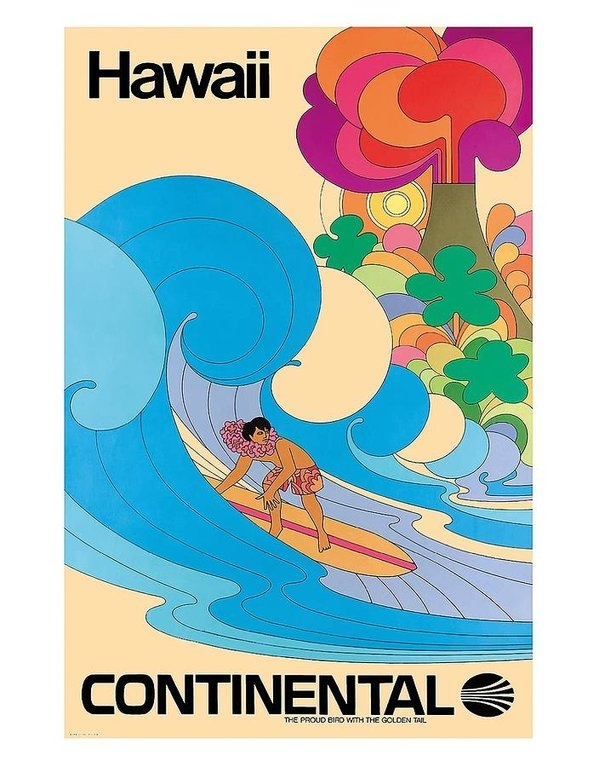 Retro Graphics - Hawaii Surfer Vintage Haw... Print