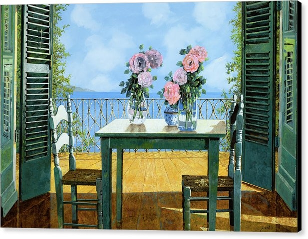 Guido Borelli - Le Rose E Il Balcone Print