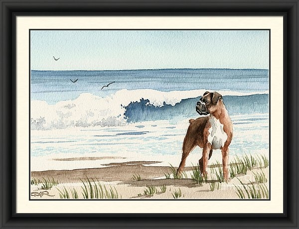 David Rogers - Boxer At The Beach Print