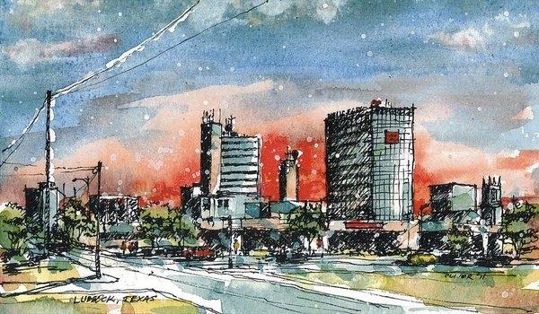 Tim Oliver - Lubbock Texas Skyline Print