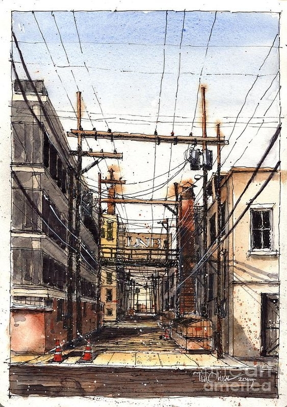 Tim Oliver - Alley Behind 14th and Tex... Print