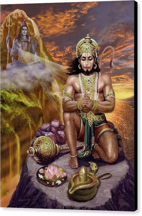 Vishnudas Art - Hanuman Receives Lord Shi... Print
