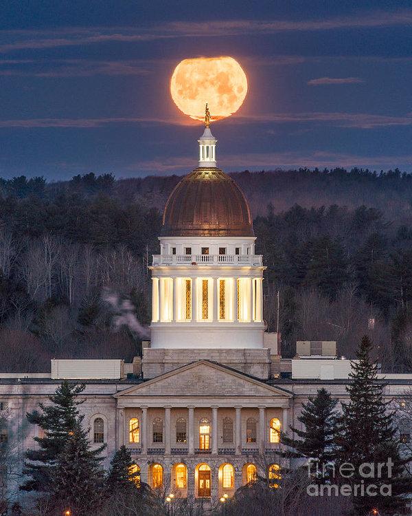 Benjamin Williamson - Maine State House Moon Print