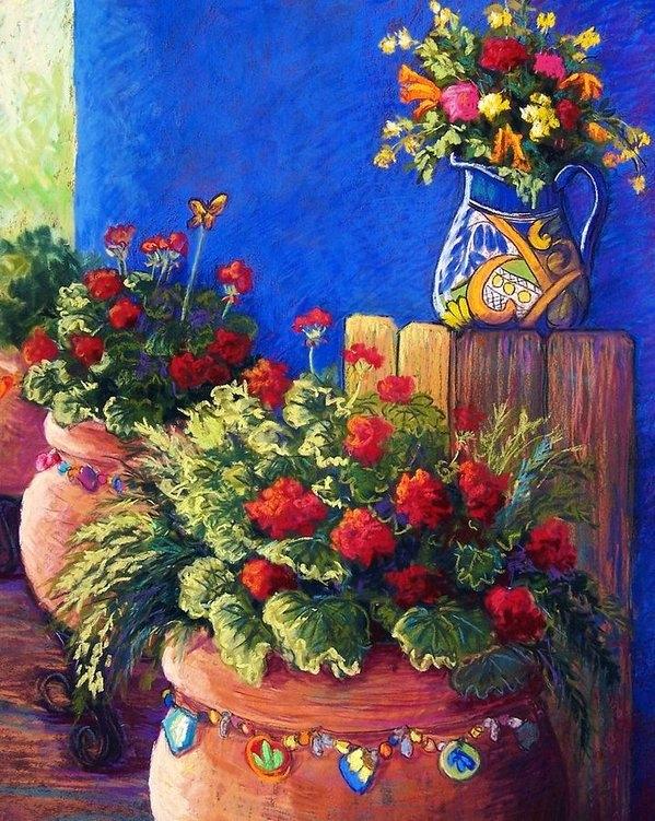 Candy Mayer - Geraniums and Talavera Print