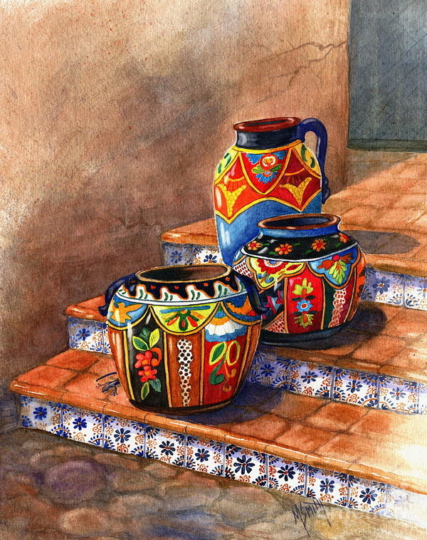 Marilyn Smith - Mexican Pottery Still Lif... Print