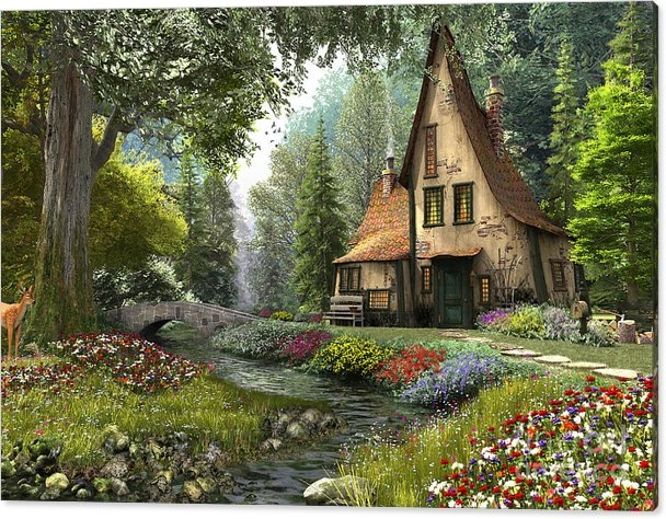 Dominic Davison - Toadstool Cottage Print