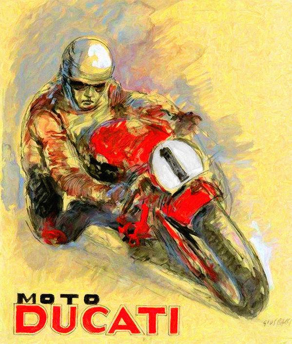 Big 88 Artworks - Ducati Vintage Motorcycle... Print
