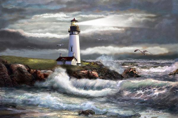 Regina Femrite - Oregon Lighthouse Beam of... Print