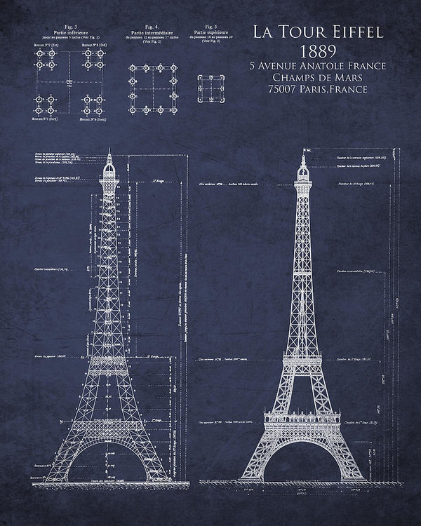 Sara Harris - Eiffel Tower Architectura... Print