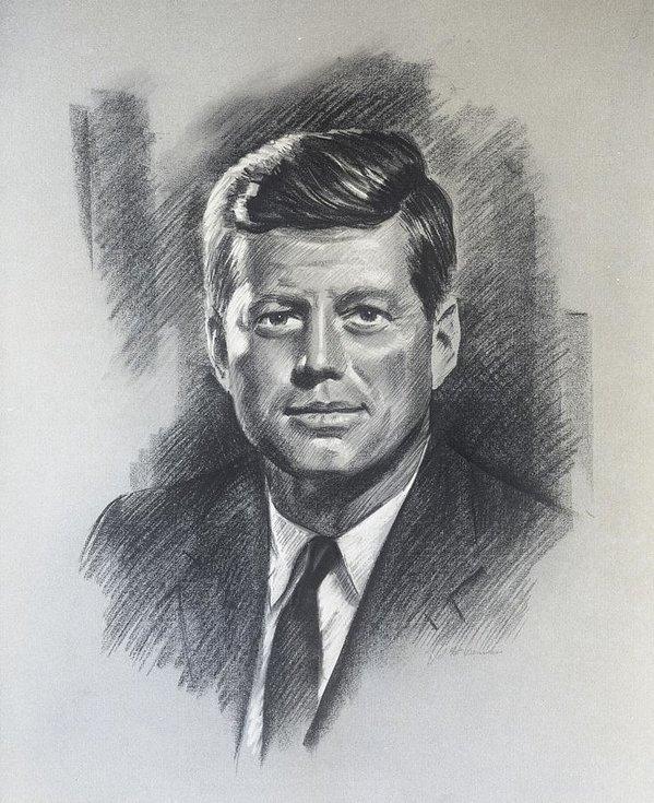 J Pat Denman - JFK portrait Print