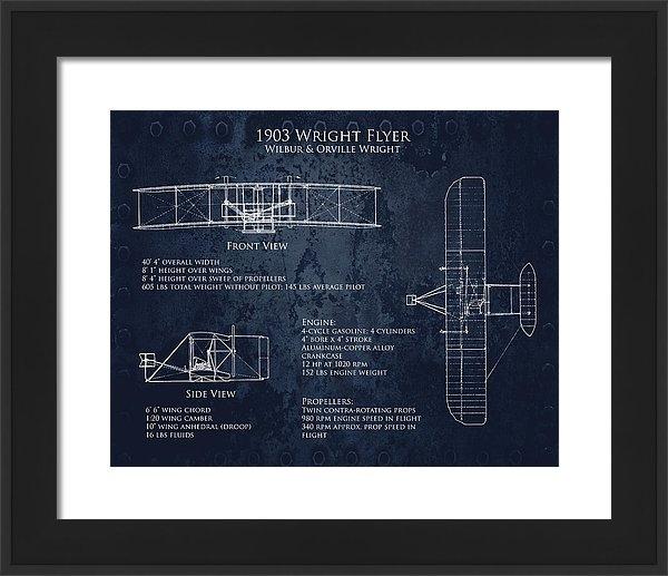 Sara Harris - 1903 Wright Flyer Bluepri... Print