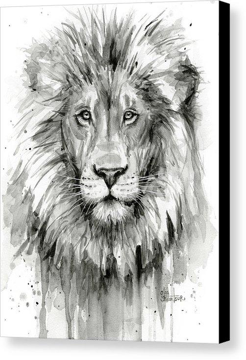 Olga Shvartsur - Lion Watercolor  Print