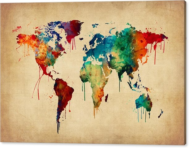 Michael Tompsett - Watercolor Map of the Wor... Print