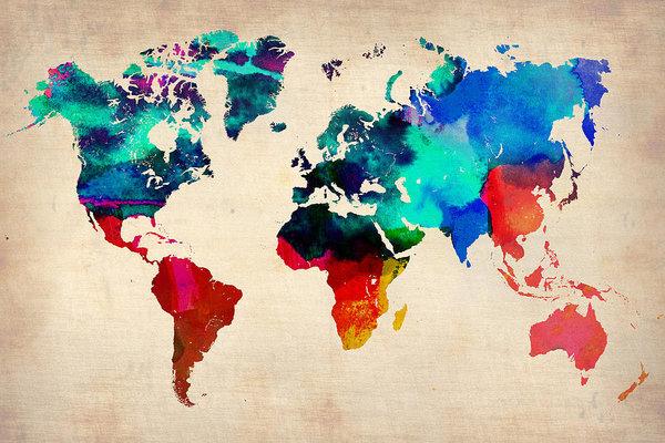 Naxart Studio - Watercolor World Map 3 Print