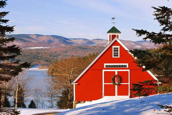 Harry Moulton - Red Barn on Newfound Lake Print