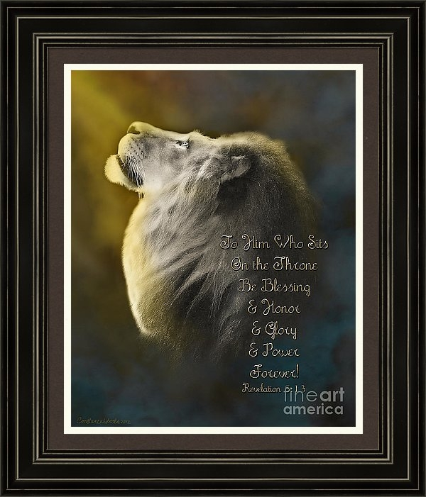 Constance Woods - Lion On The Throne in Aqu... Print