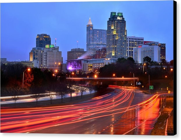 Jon Holiday - Raleigh Skyline at Dusk E... Print