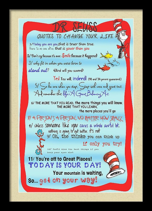 Georgia Fowler - Dr Seuss - Quotes to Chan... Print