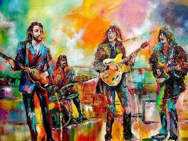Leland Castro - Beatles Rooftop Concert 2 Print