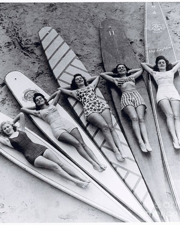 Jason Mayron - Vintage Lady Surfers Print