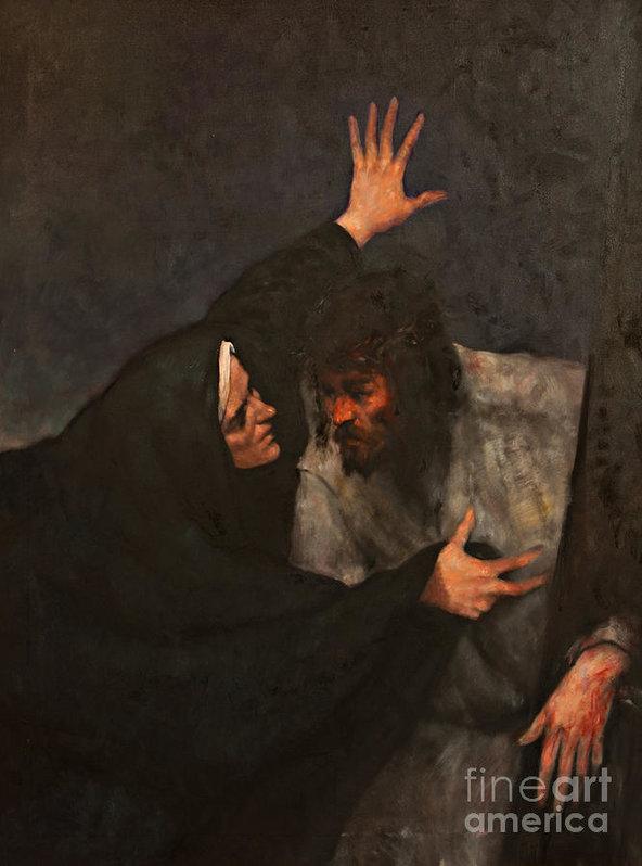 Dan Radi - Jesus meets his mother Print
