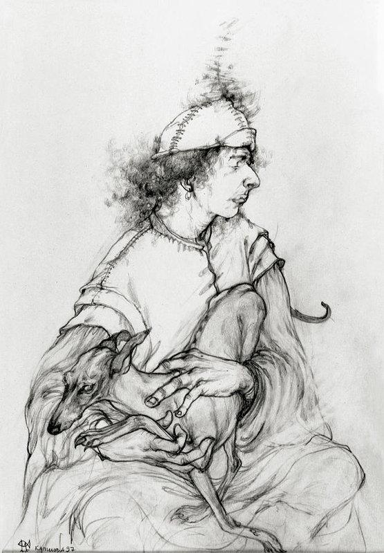 Marina Kapilova - Young Man with a Dog Print