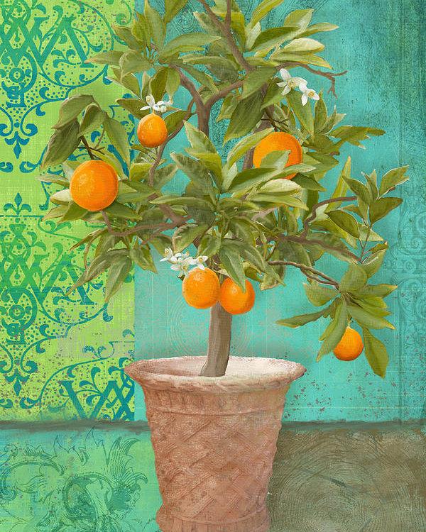 Audrey Jeanne Roberts - Tuscan Orange Topiary - D... Print