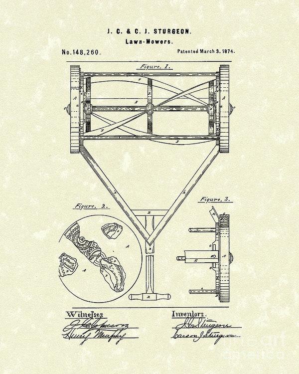 Prior Art Design - Lawn Mower 1874 Patent Ar... Print