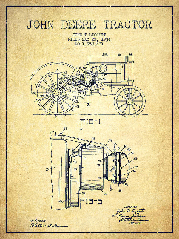 Aged Pixel - John Deere Tractor Patent... Print