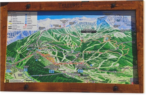 David Lee Thompson - Telluride Ski Map Detail  Print