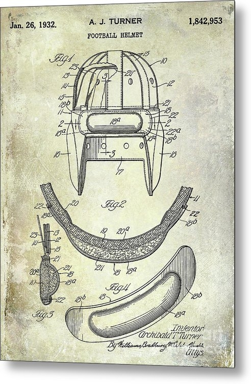 Jon Neidert - 1932 Football Helmet Pate... Print