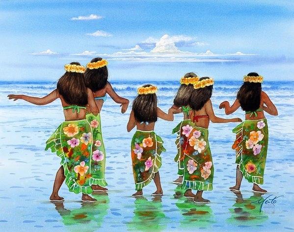 John YATO - Hula Dancers Hawaii Print