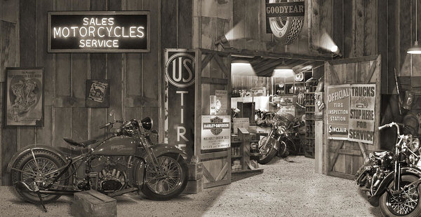 Mike McGlothlen - Outside The Old Motorcycl... Print