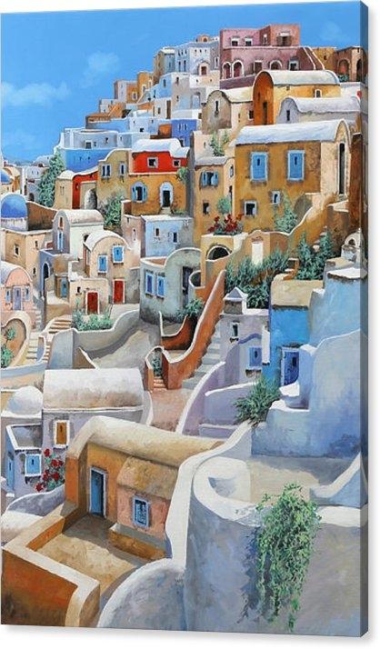 Guido Borelli - Santorini A Colori Print