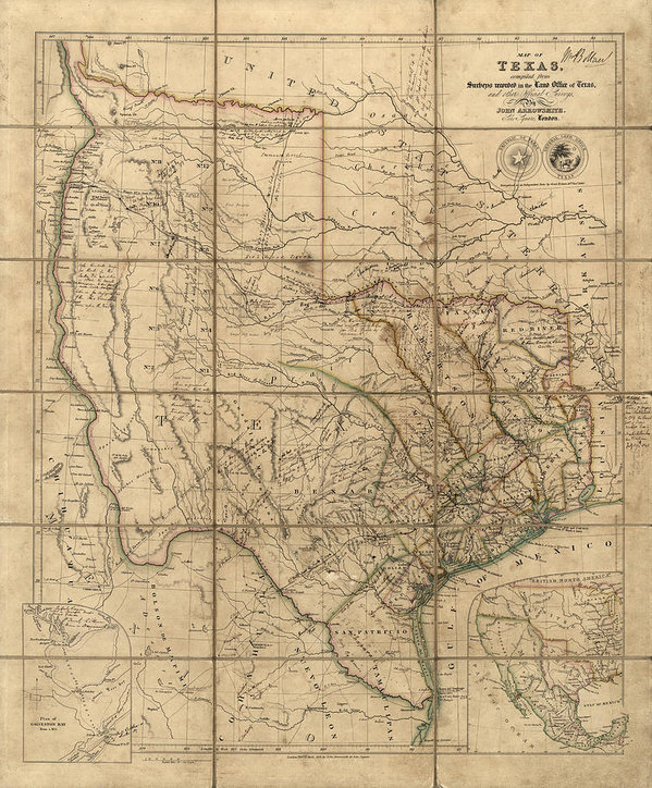 Blue Monocle - Antique Map of Texas by J... Print