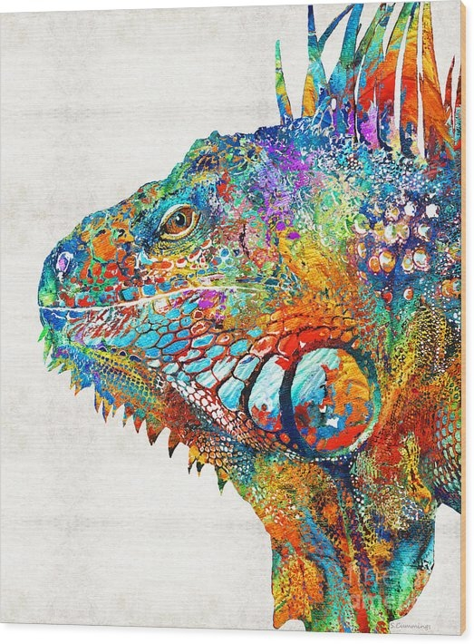 Sharon Cummings - Colorful Iguana Art - One... Print