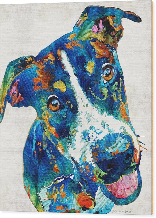 Sharon Cummings - Colorful Dog Art - Happy ... Print